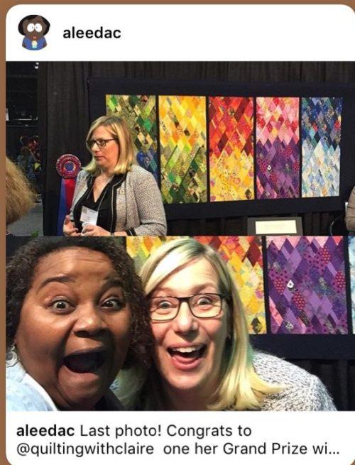 Une visiteuse du Chicago Quilt Festival 2018