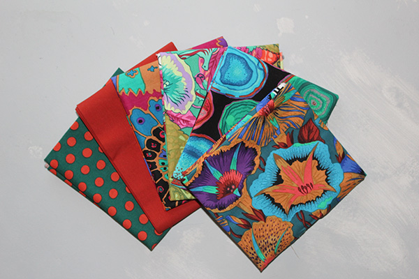 Les tissus ayant fait l'objet de mon inspiration. Kaffe Fasset de Free Spirit Fabrics.